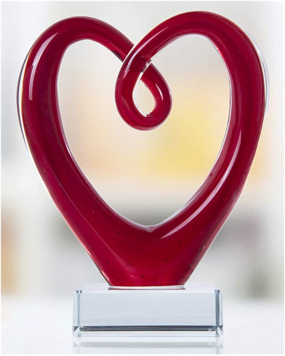 QF Large Art Glass Heart Sculpture Centerpiece Party Home Decoration Gift Murano Style