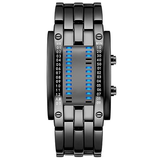 Hombres y mujeres Reloj led,30m impermeable Relojes digitales Calendario Mes Sistema de 12 horas Retroiluminación azul Relojes para hombre Pulsera de ...