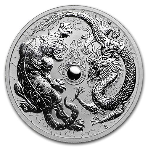 2018 AU Australia 1 oz Silver Dragon & Tiger BU 1 OZ Brilliant Uncirculated