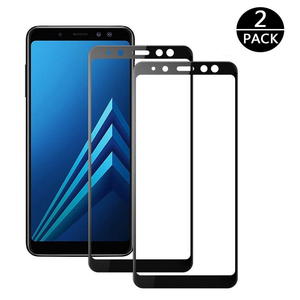 [2-Pack] Samsung Galaxy A8 2018 Screen Protector, MOCACA 9H Hardness 99% HD Clarity Premium Tempered Glass Protective Film for Samsung Galaxy A8 2018 [Full Screen Coverage] - Black