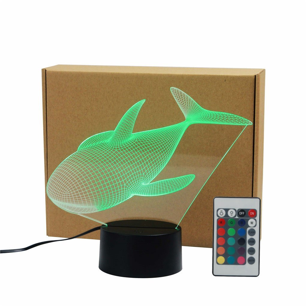 Huge Whale Marine Animals Acrylic 3D Visual IR Remote Touch Table Lights Colorful Home Art Decor USB LED Desk Night Lamp TD243