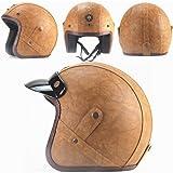 Loyasun Harley Helmets PU Leather 3/4 Motorcycle Chopper Bike Helmet Vintage Motorcycle Helmet with