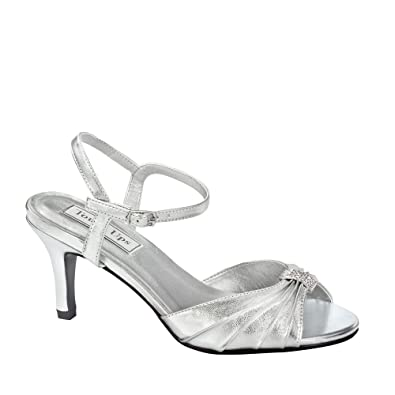 76ae870cb75 Touch Ups Asher Wide Fit (D) Silver Peep Toe Wedding Shoes Size 3.5   Amazon.co.uk  Shoes   Bags