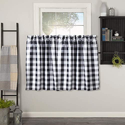 Lahome Farmhouse Buffalo Check Tier Curtain – Grid Plaid Pattern Half Window Valances Treatment Room Darkening Rod Pocket Tailored Tier Cafe Curtain Panels 29 W x 36 L Pair, Black White