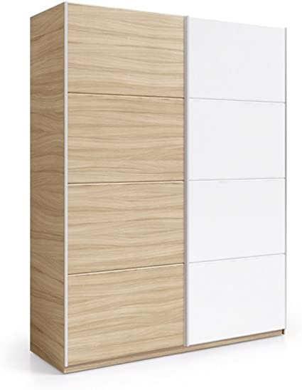 Habitdesign ARC184W - Armario 2 Puertas correderas, Color Nature y Blanco Brillo, Medidas: 180 cm (Largo) x 200 (Alto) x 63 cm (Fondo): Amazon.es: Hogar