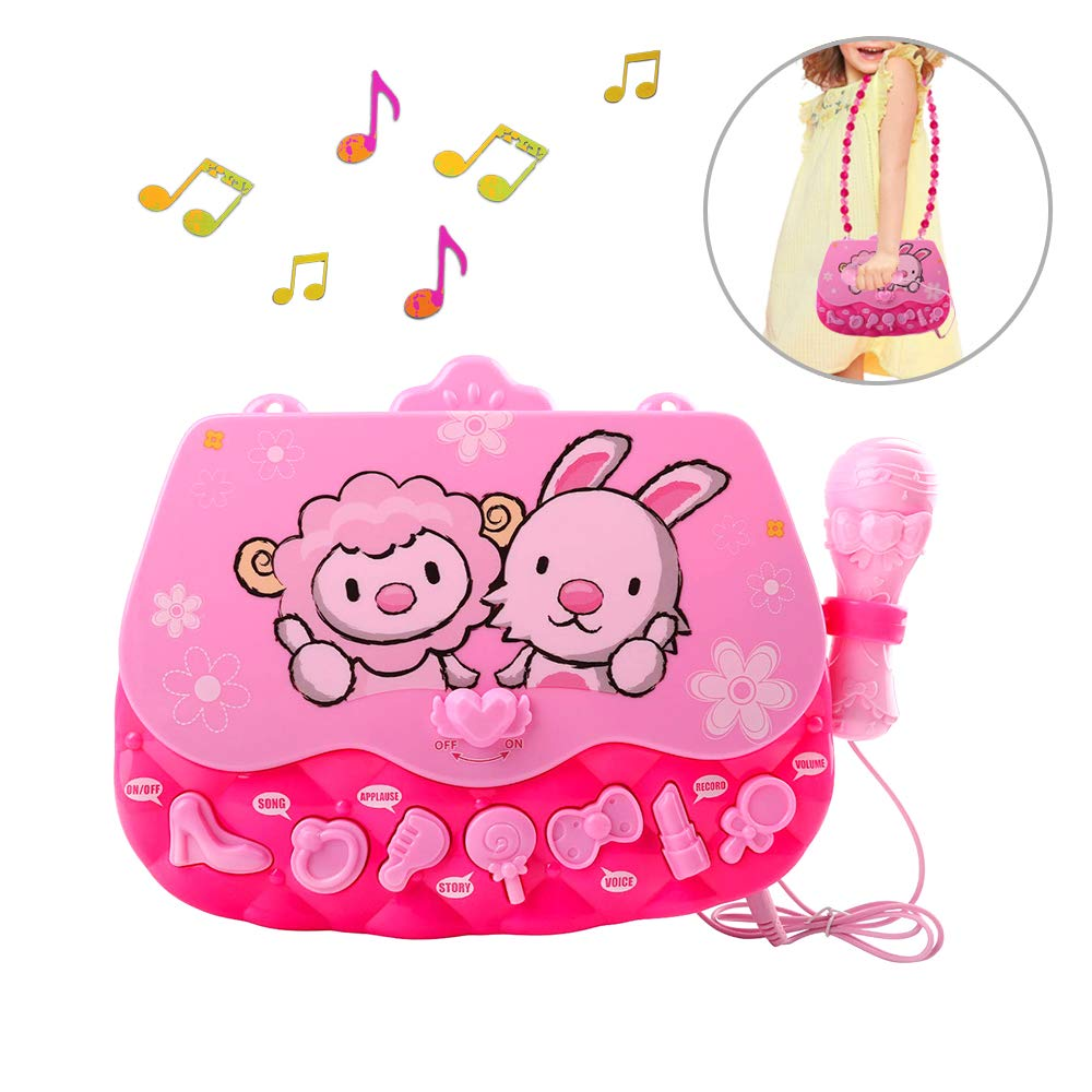 ALANGDUO Karaoke Machine Toys for Girls, Kids Microphone Musical Machine Connect MP3 Cellphone Shoulder Bag Flashing Lights Karaoke Player Singing Toys for Girls Children Kids Gift Age 3 + (Pink) by ALANGDUO (Image #1)