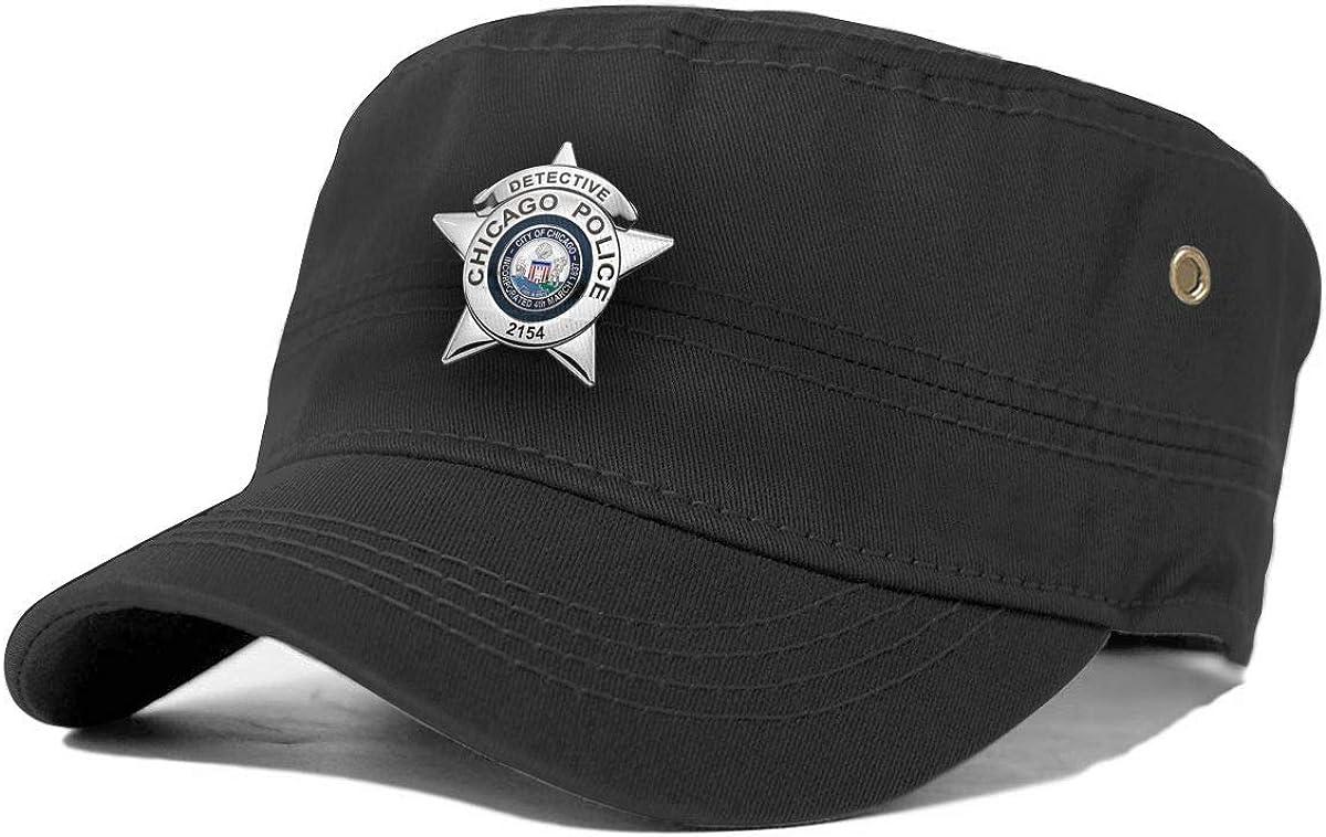 VCKNUCAZ Chicago Police Department Badge Adult Flat-Topped hat Cowboy hat Snapback Cap Hats for Men