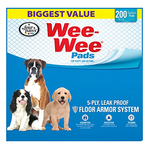 Four Paws Wee-Wee Dog Training Pads, 200-Pack