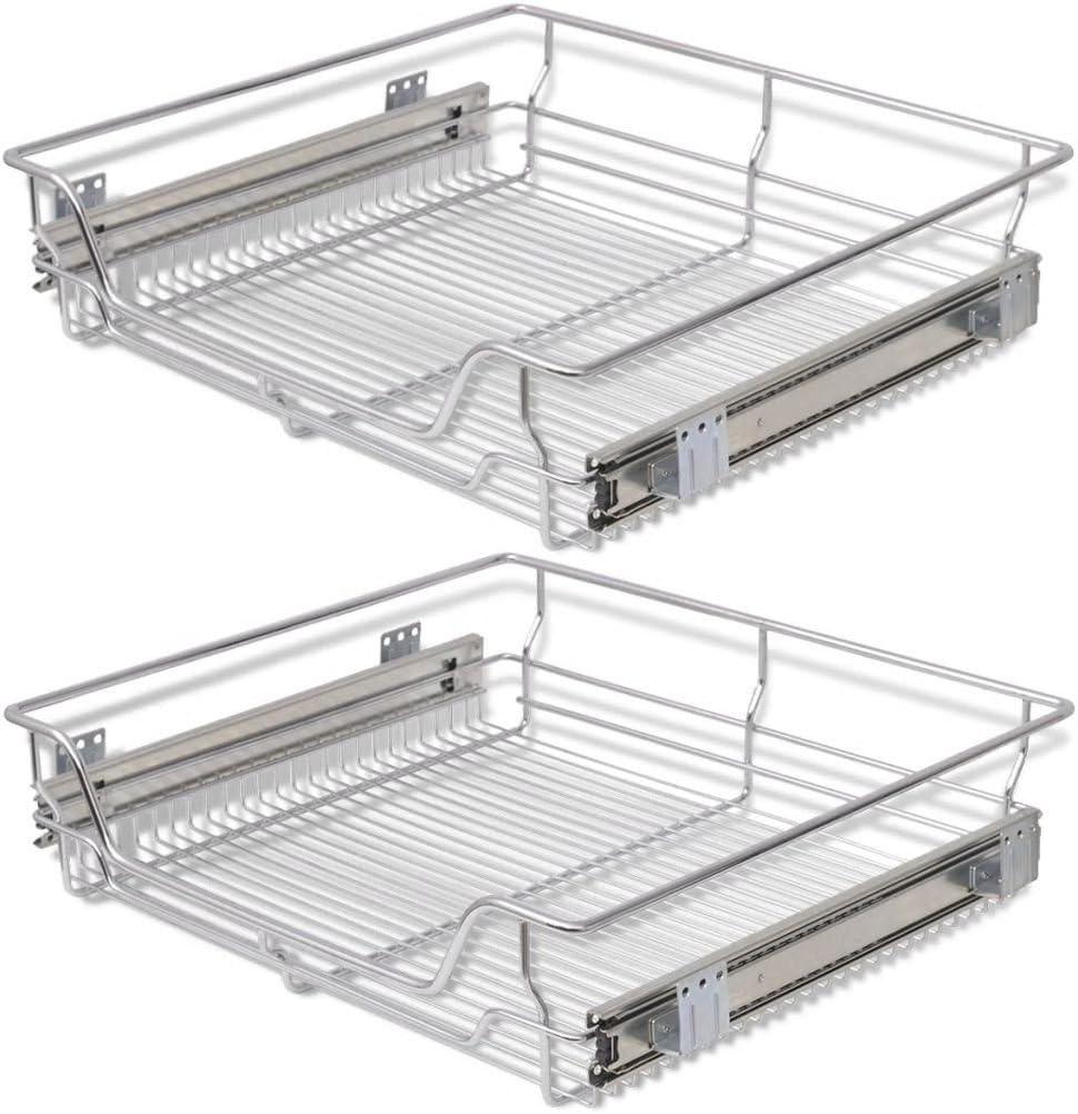 Festnight - Juego de 2 cestas de almacenamiento de alambre extraíbles deslizantes de acero para armarios de cocina, despensa, baño, armario...