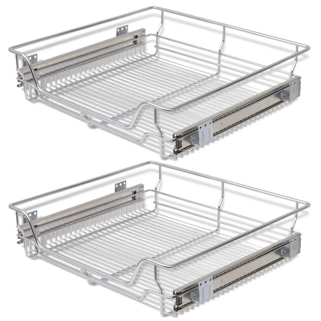 Festnight Pack of 2 Pull-Out Wire Storage Baskets Rack Sliding Steel Cabinet Slides Under Shelves Sliding Organizer for Kitchen Pantry Bathroom Cupboard (23.6'' Wide) by Festnight