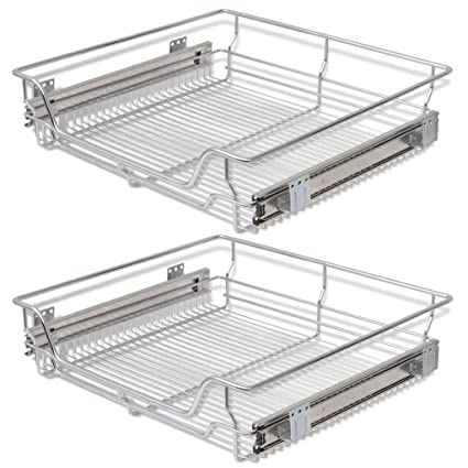 Stupendous Festnight Pack Of 2 Pull Out Wire Storage Baskets Rack Sliding Steel Cabinet Slides Under Shelves Sliding Organizer For Kitchen Pantry Bathroom Interior Design Ideas Inesswwsoteloinfo