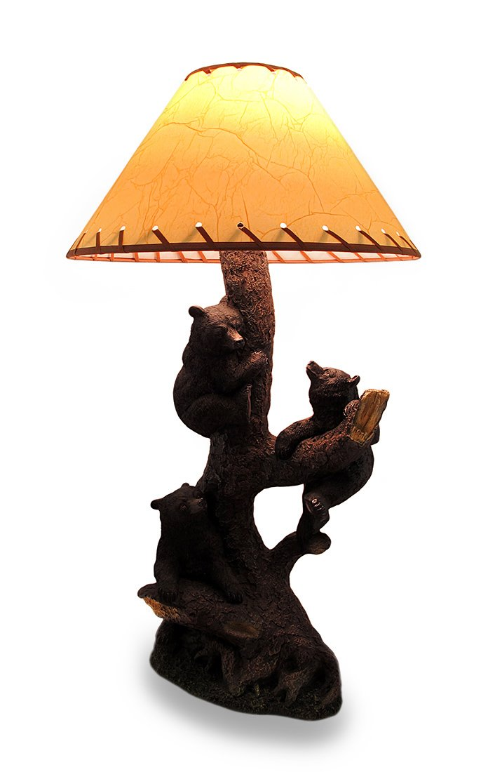 Resin Table Lamps Three Playful Bear Cubs Climbing A Tree Decorative Lamp And Shade 9.25 X 26 X 6.5 Inches Multicolored by Zeckos
