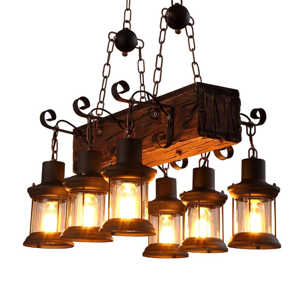 WanDun Vintage Industrial Industrial Industrial Wind Restaurant American Country Kreative Persönlichkeit Aus Massivem Holz Dekorative Kronleuchter fe6406