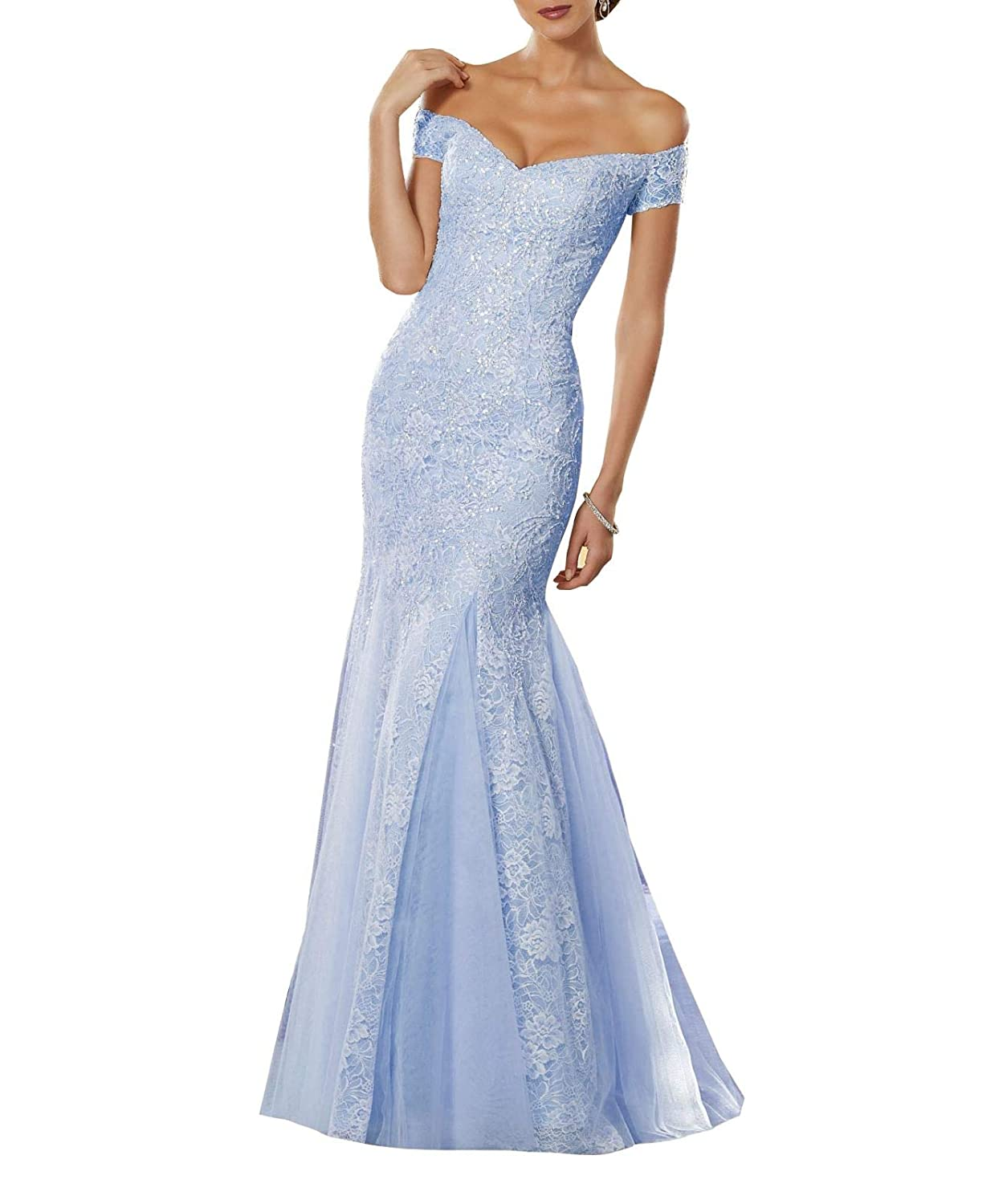 Cornflowerbluee Aishanglina Aline Sexy Off The Shoulder Lace Embroidered Party Dress Prom Gown with Jewelled Beading