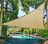 Do4U Oversized Triangle Garden Patio Shade Sun Sail UV Block Fabric with Steel D-rings Triangle Sand (20x20x20ft, sand)