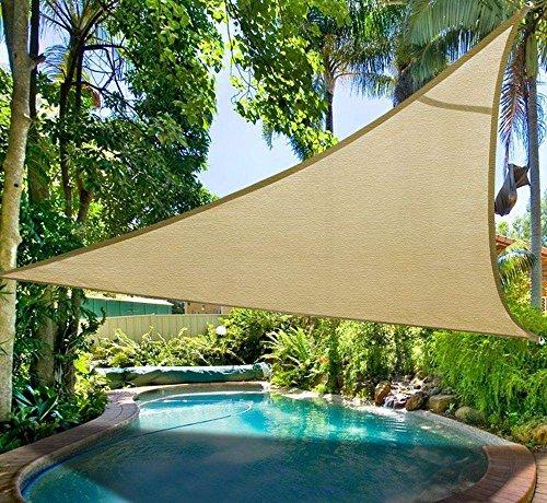 Do4U Oversized Triangle Garden Patio Shade Sun Sail UV Block Fabric with Steel D-rings Triangle Sand (20x20x20ft, sand) by Do4U