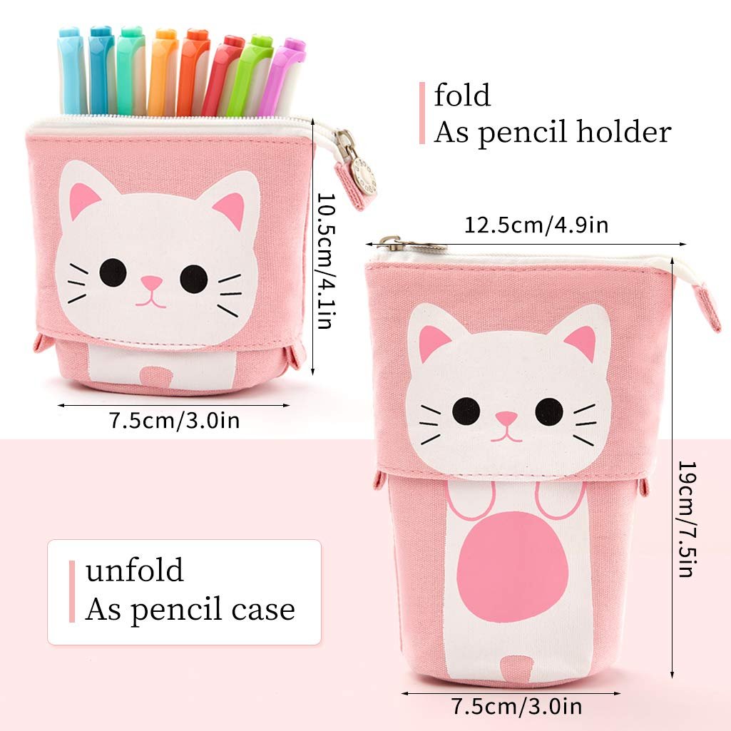 Aineeba Big Capacity Pencil Pen Case Pouch Box Organizer Large Storage for Bullet Journal Pink