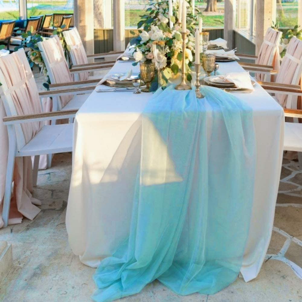 BIT.FLY 197 x 53 Inch Sheer Scarf Organza Table Runner for Wedding Arch Valance Table Swags Event Party Reception Backdrop Decoration (Turquoise, 1 Pack)