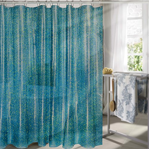 Carttiya EVA Shower Curtain Liner, Mildew Resistant Anti-Bacterial Clear - Non Toxic, Eco-Friendly, No Chemical Odor, Rust Proof Grommets, 72 x 72 (Blue Sequins)