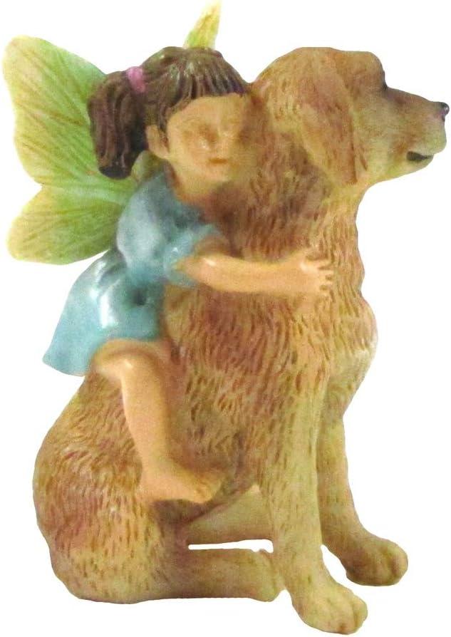 TG,LLC Treasure Gurus Mini Fairy Girl Riding Dog Garden Figurine Accessory Dollhouse Pet Ornament Outdoor Decor