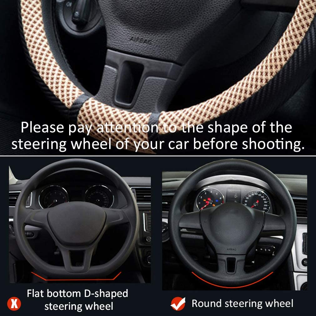 coofig D-Type Steering Wheel Cover with Microfiber Leather and Viscose,D-Shape,Padded Soft Grip Breathable for women fit most of car /… Black and Grey