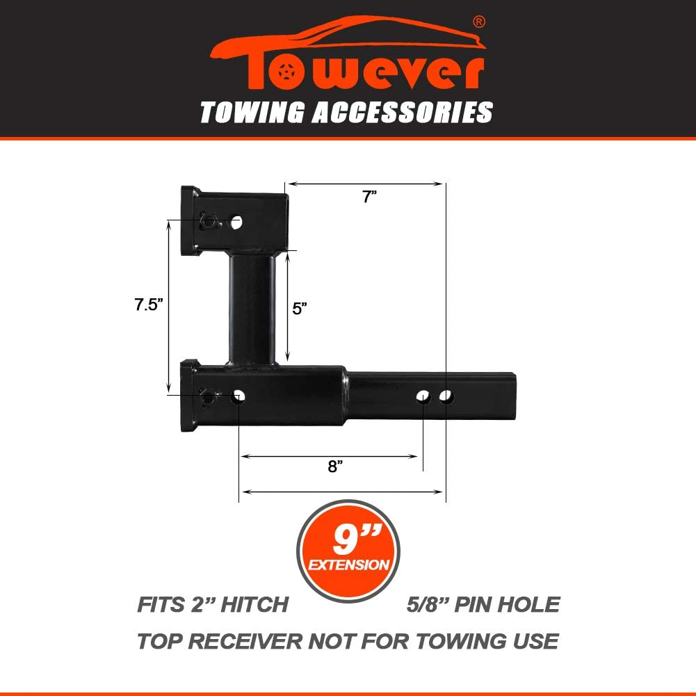 Towever 84131P Trailer 2 inches Dual Hitch Receiver Adapter Extender for Towing and Riser for Bicycle Rack Extra Long Towing Accessories with Pin and Clip