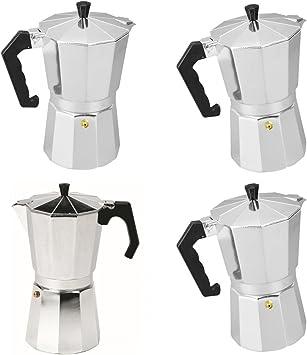 4pcs Cafetière Italienne en Aluminium Café Express Moka Pot 3//6//9//12 Cups