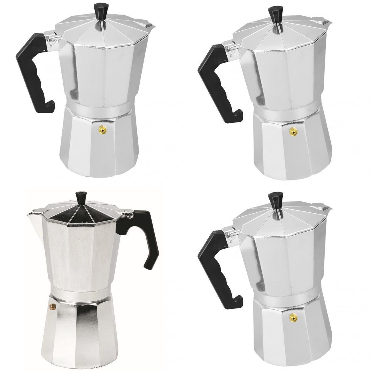 MagiDeal 4 Pieces Aluminum Coffee Moka Maker Pot Expresso Latte Stove Percolator 3/6/9/12 Cups