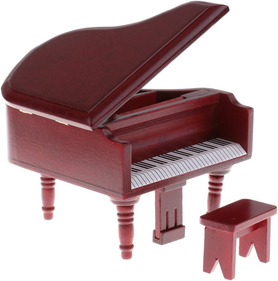 Bambole Miniatura Pianoforte Sgabello Arredamento Decorativo Casa Giardino Legno Palissandro