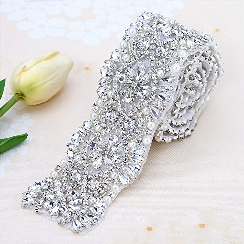 "Bridal Belt Rhinestone Trim by the Yard for Wedding Sash and Dresses-Pearls and Rhinestones-Sliver-1 Piece(1.8""36""in) (Sash Trim)"