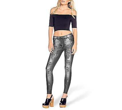 1569fd8b60814 Cute Demi Fashion Legging Simulation Hole Jeans Printed Leggins Women Leggings  Black Pant,KDK1463,