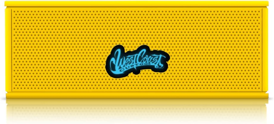 Yellow Bulit in Speakerphone and 8 Hour Battery West Coast Customs Portable Wireless Bluetooth Speaker