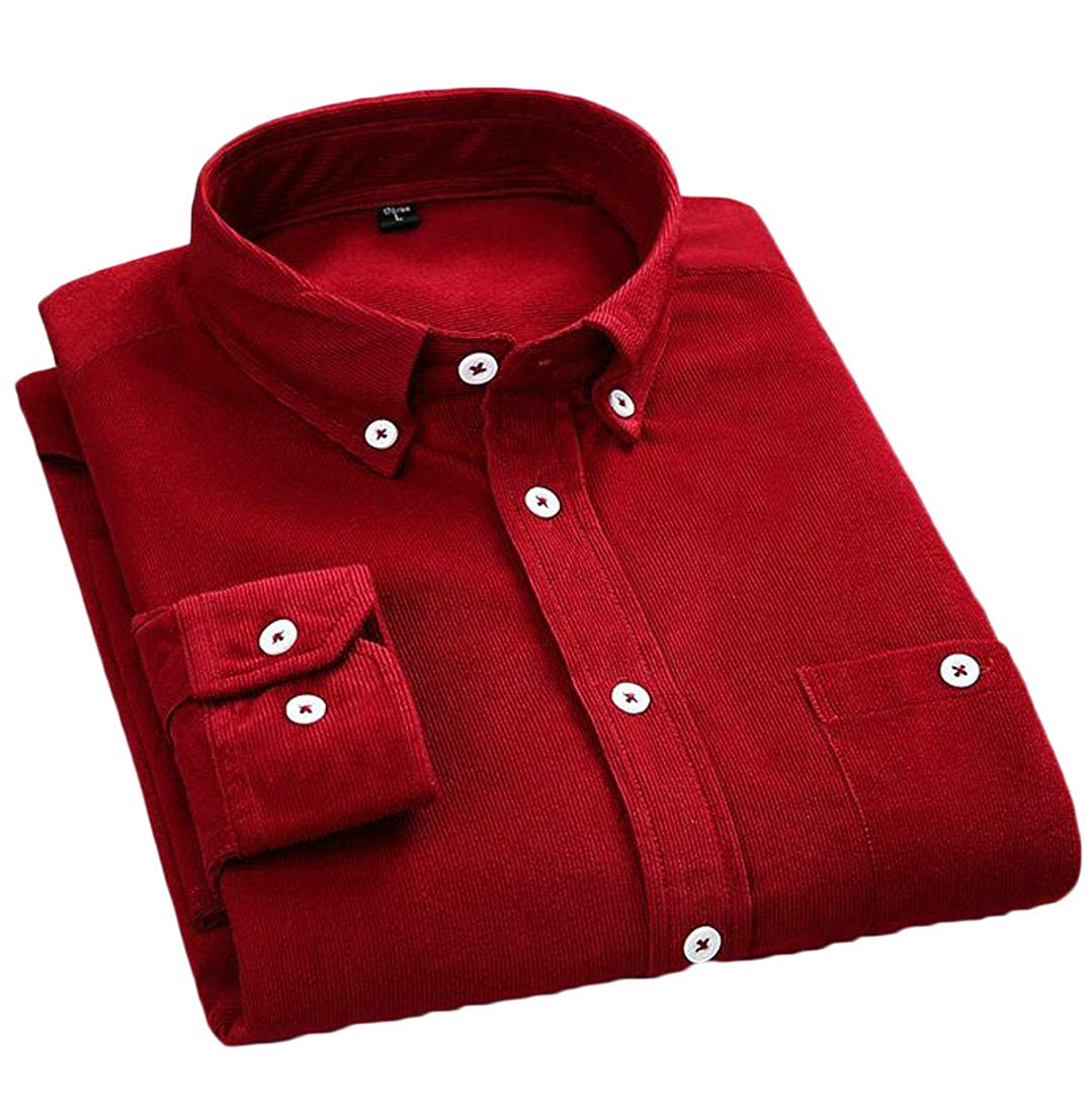 Lutratocro Mens Pure Color Button Down Long Sleeve No Iron Corduroy Casual Shirts