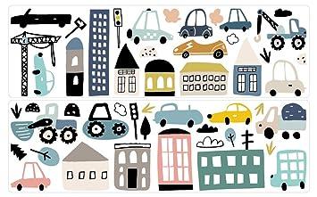 Wandtattoo Kinderzimmer Deko Pastell Set Fahrzeuge Stadt Autos ...