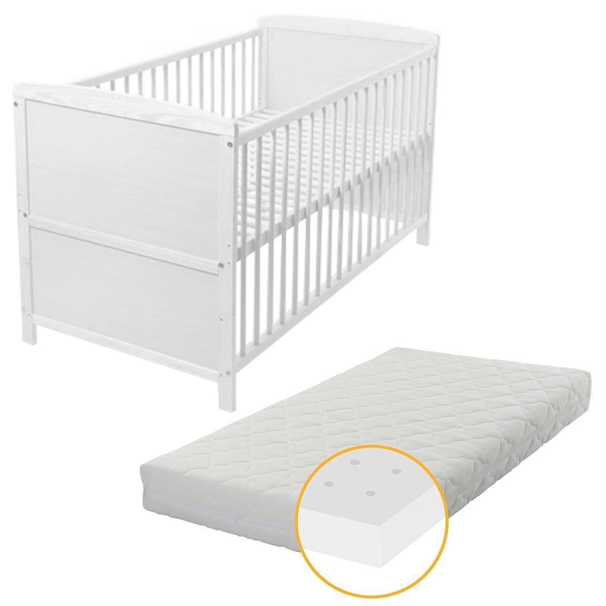 Baby- Kinder- und Jugend- Bett, Gitterbett, Kiefer teilmassiv, 140x70 cm, Babyblume TINA, Weiß