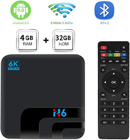 Android TV Box, Allwin H6 Android 9.0 TV Box 4GB RAM / 64GB ROM Allwinner H6 Quad Core Admite 2.4Ghz / 5.0Ghz WiFi 8K HDMI Bluetooth 4.0 DLNA 3D Smart TV Box,4gb+32gb: