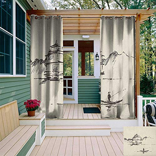 leinuoyi Ancient China, Outdoor Curtain Set of 2 Panels, Sketch Art of Oriental Landscape with Pagoda Fishing Man and Mountain, for Patio Furniture W120 x L96 Inch Beige Dark Brown