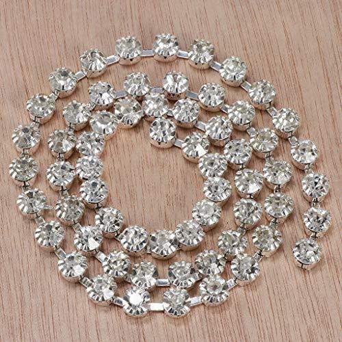 1Yds 7mm Crystal Rhinestone Close Chain Trim Sewing Craft Decoration Silver