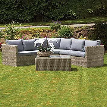 Superb Royalcraft Wentworth Rattan Rod Weave Outdoor Garden Furniture Corner Sofa  Set With Coffee Table