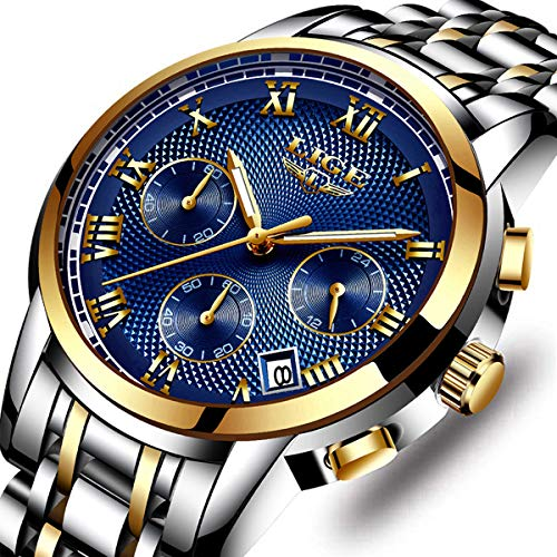 LIGE Men's Fashion Full Steel Sport Quartz Watch Chronograph Waterproof Watch Luxury Brand Date Business Dress Watches Gents Casual Clock Silver Blue