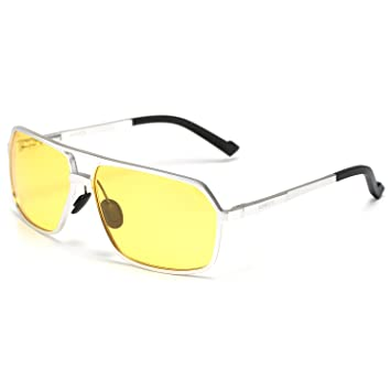 c0b23e11b6 Soxick® Mens HD Metal Polarized Night Driving Glasses Sports Sunglasses (Silver  Frame Yellow Lens-2)