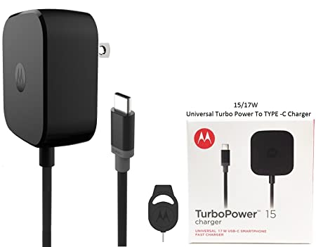 Motorola TurboPower TYPE C Fast Charger 15/17W &amp; Moto SIM Ejector - For Moto Z Force/Z Droid/Z Play - (Retail Packing) <span at amazon