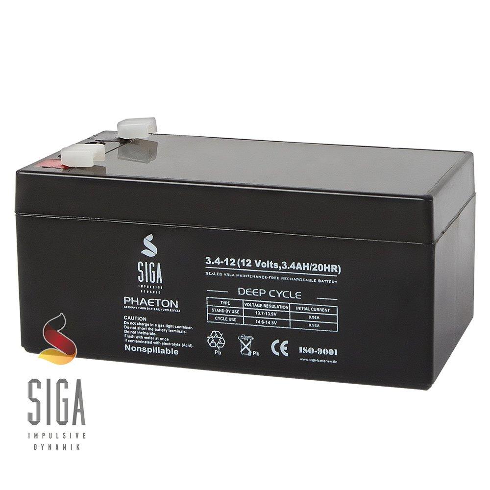SIGA S3, 4-12 Batterie 12 V/3,4 mAh