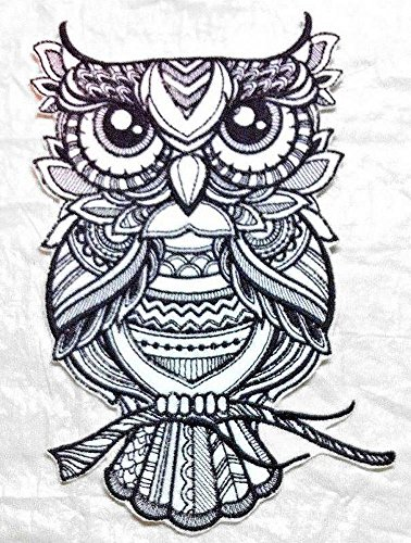 (Very Detailed Embroidered Owl Iron on Patch Applique - Large 7.5