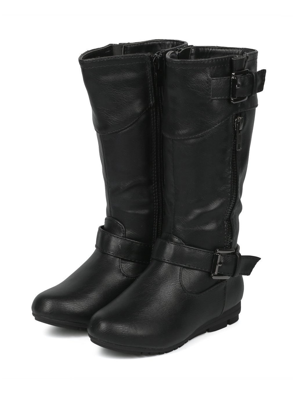 Alrisco Girls Leatherette Buckled Tall Riding Boot HF94 - Black Leatherette (Size: Little Kid 11) by Alrisco (Image #5)