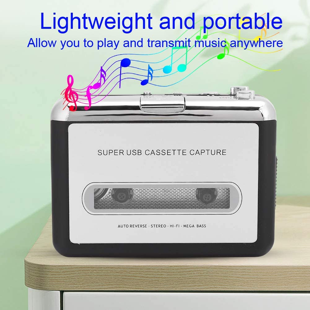 WINSHIDEN Portable Stereo Cassette Player Tape to MP3 Audio Converter Adapter with USB Cable