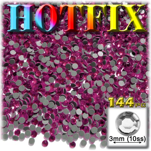 The Crafts Outlet DMC HOTFIX Superior Quality Glass 144-Piece Round Rhinestone Embellishment, 3mm, Hot (Olivine Rhinestone)