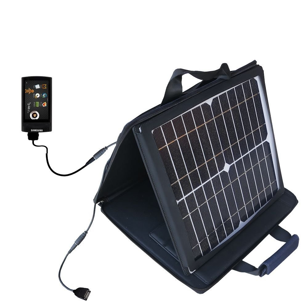 Gomadic SunVolt Powerful and Portable Solar Charger suitable for the Samsung YP-R1 Digital Media Player - Incredible charge speeds for up to two devices by Gomadic