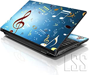 """LSS Laptop 15 15.6 Skin Cover with Colorful Music Notes Pattern for HP Dell Lenovo Apple Asus Acer Compaq - Fits 13.3"""" 14"""" 15.6"""" 16"""" (2 Wrist Pads Free)"""
