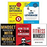img - for Never split the difference,life leverage,fitness,mindset with muscle,how to be fcking awesome 5 books collection set book / textbook / text book